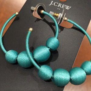 J. Crew Orb Hoop Earrings, Aqua Sea Turquoise, NWT